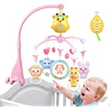 caterbee Baby Crib Mobile Toy, Rechargeable Plush Stroller Mobile with Projection, Remote, Lights and Music for Pack and Play