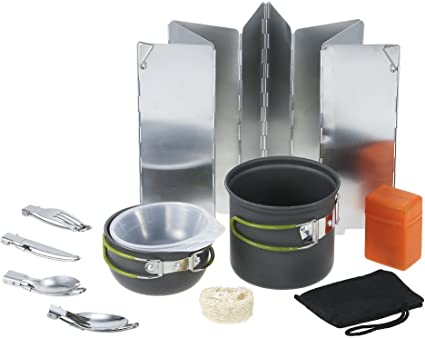 5-pièce en aluminium Camping Randonnée Gear Cookware Mess Kit Backpacking Set