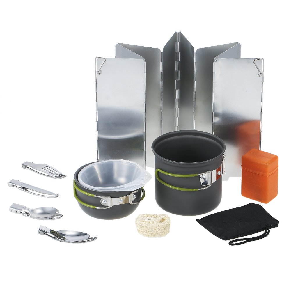 11pcs Portable Outdoor Camping Cooking Cookware Set Aluminium Pots Pans Kettle