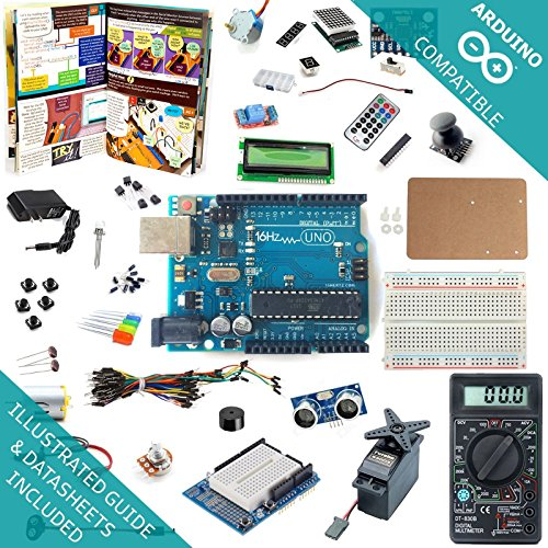 Amazon.com: 16Hertz UNO R3 Ultimate Starter Kit - LED, LCD, Breadboard, Shield, Relay, 9V Adapter, Sensor, Guide for Arduino: Computers & Accessories
