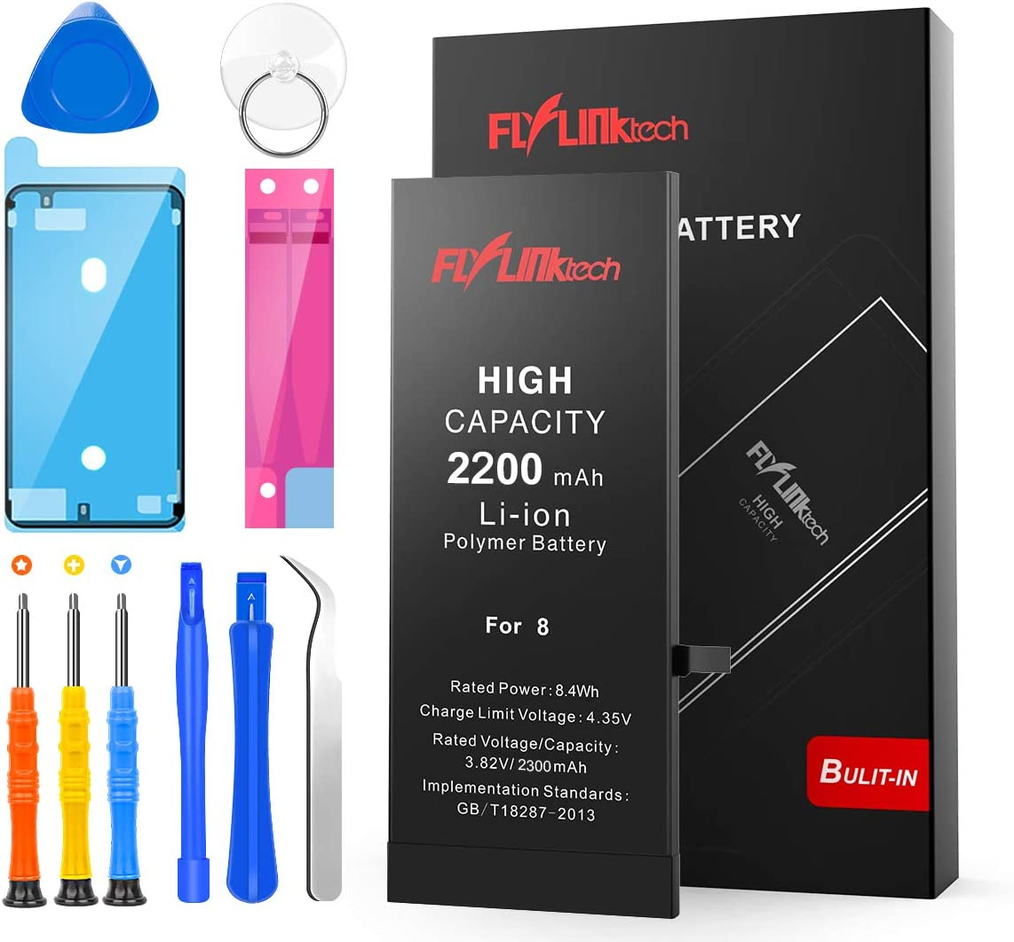 FLYLINKTECH for iPhone 8 Battery, 2200mAh High Capacity Li-ion Polymer with All Repair Replacement Kit Tools-Included 24 Months Assurance