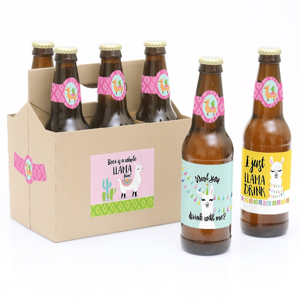 Whole Llama Fun - 6 Llama Fiesta Baby Shower or Birthday Party Beer Bottle Label Stickers and 1 Carrier Big Dot of Happiness LLC