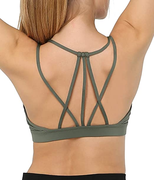 605b1ddd088 Snailify Women's Sports Bra Strappy High Impact Crisscross Halter  Adjustable Back Padded Bras - Yoga Gym Workout