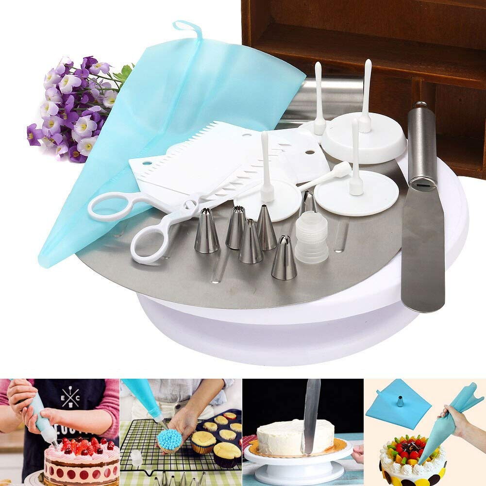 Piping Bags - 1 set/16 pcs Cake Decorating Supplies Turntable,Transfer shovel,Piping mouth,Piping Bag,Adapter head,Spatula DC156 by Piping Bags (Image #2)
