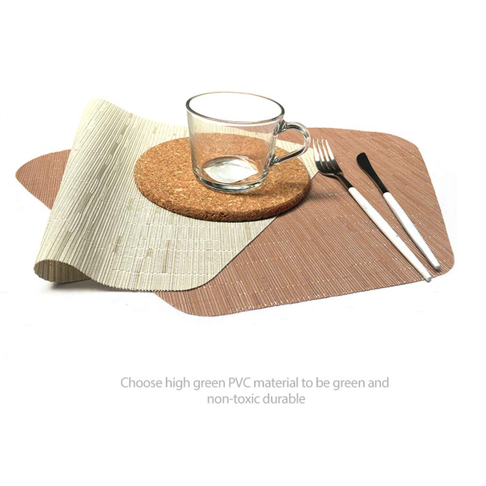 Green, Set of 6 Tanya Round Table Placemats Set of 6 Wedge Washable Table mats for Kitchen Table,Heat Resistant Round Table