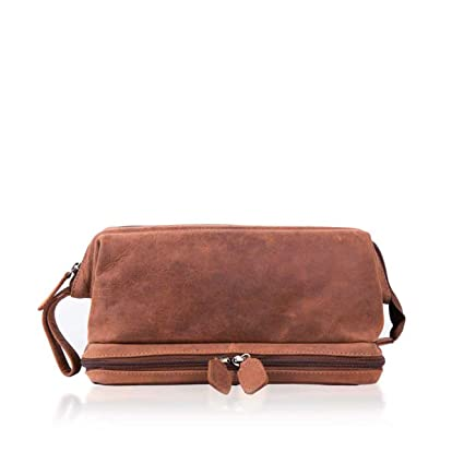 Lakeland Leather Men s Hunter Real Leather Wash Bag in Tan Brown   Amazon.co.uk  Luggage 0d441143cc994