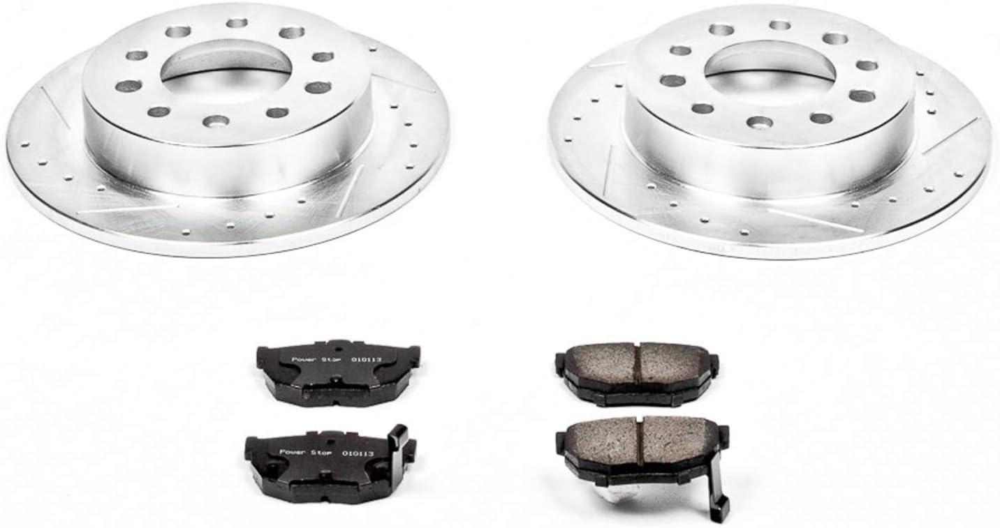 Power Stop K701 Rear Brake Kit with Drilled//Slotted Brake Rotors and Z23 Evolution Ceramic Brake Pads