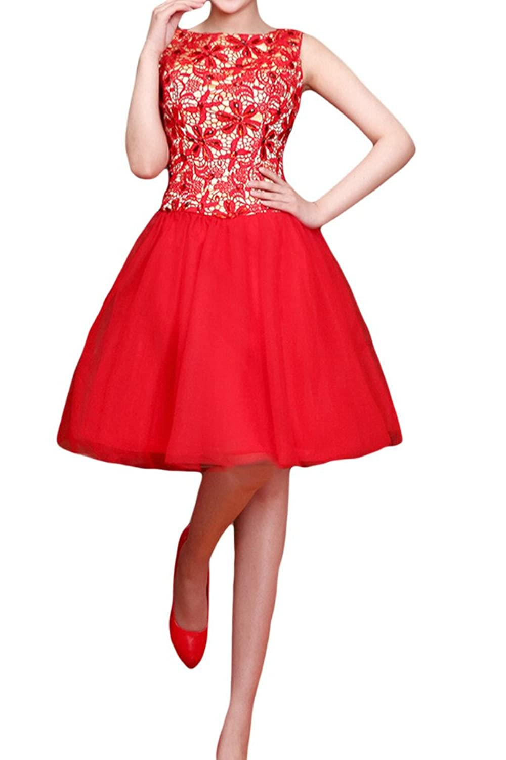 Gorgeous Bride Red Short Lace Tulle Homecoming Dress Prom Cocktail Gown For Girls