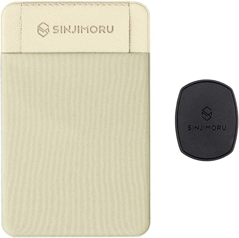 Sinjimoru Removable Cell Phone Wallet with Flap, Wireless Charging Compatible Phone Card Holder Wallet and iPhone Mount, Sinji Mount Flap Beige