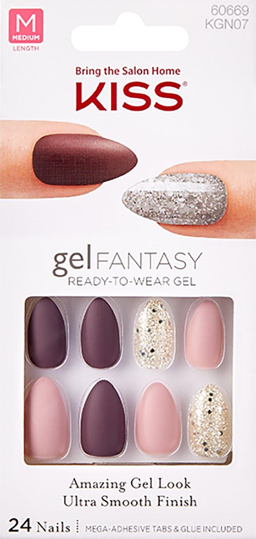Kiss Nails GEL FANTASY KGN07 (RUSH HOUR) Medium Design Nails w/Adhesive Tabs & Glue
