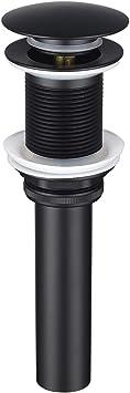 Matte Black BESTILL Push Pop-up Basin Drain Stopper Less Overflow for Bathroom Basin Vessel