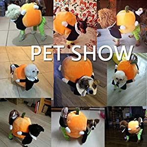 Funny Dog Clothes for Small Dogs, Carrying Pumpkin Halloween Fancy Jumpsuit Puppy Costume, with Cuddly Soft Plush Better to Keep Warm in Winter, for Pet Dogs, Cats.(Size M)