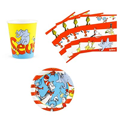 Dr Seuss Cat in The Hat Birthday Party Supplies Set Plates Napkins Cups Kit for 16: Kitchen & Dining