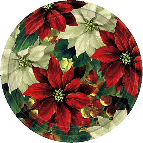 (Amscan Regal Poinsettia Christmas Round Dessert Paper Plates (Pack of 8), Multicolor, 7