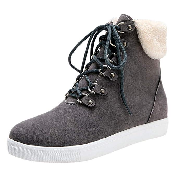 ZARLLE_Botas Zapatos Mujer OtoñO Invierno 2018 Mujer con Cordones sólidos Botines Casuales Zapatos con Punta Redonda Botas de Nieve de Invierno: Amazon.es: ...