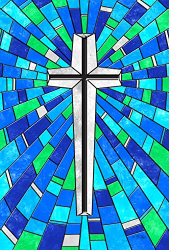 Toland Home Garden Stained Glass Cross 12.5 x 18 Inch Decorative Colorful Religious Christian Inspirational Garden Flag