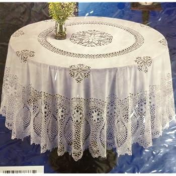 Amazon Com Crochet Vinyl Tablecloth 60 Quot Round Home