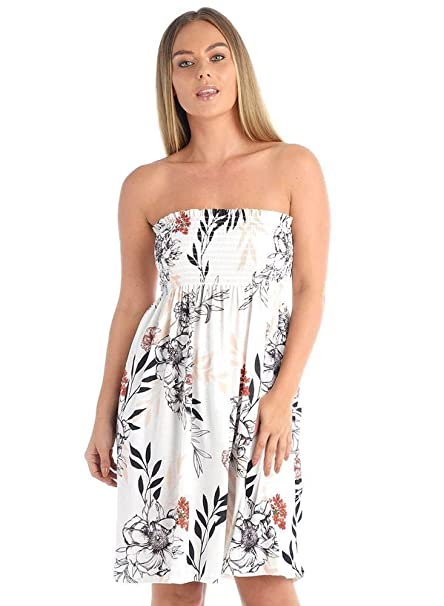 bd7f8ea85bc The Celebrity Fashion Womens Floral Printed Sheering Top Strapless Boobtube  Bandeau Swing Dress  Amazon.co.uk  Clothing