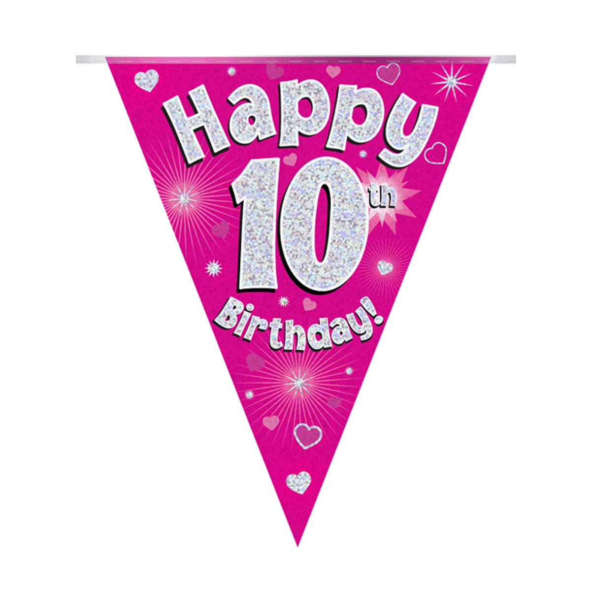 Happy 10th Birthday Pink Holographic Foil Party Bunting 3.9m Long 11 Flags Oaktree