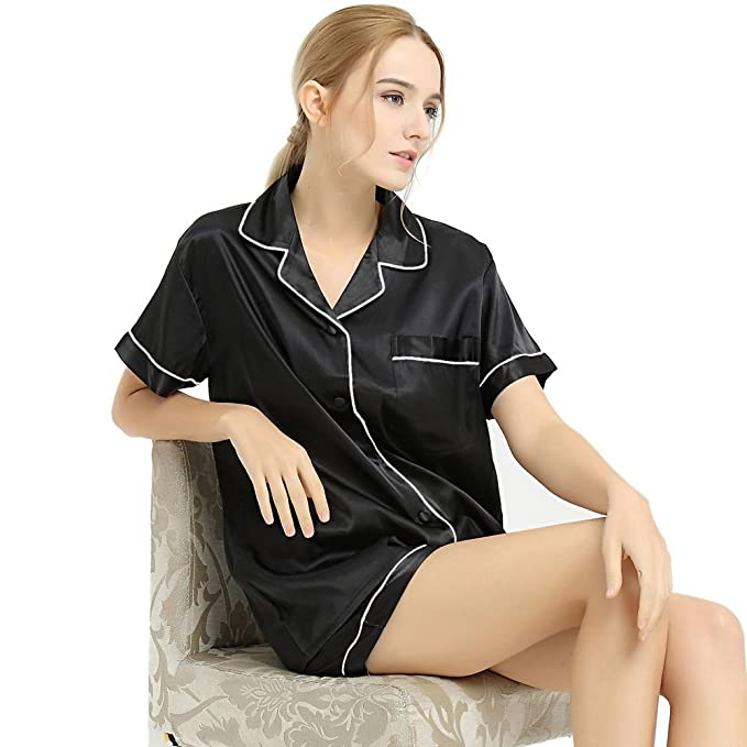 Lonxu Juego de Pijama de satén de Seda para Mujer Pijamas Ropa XS ~ 3 x l