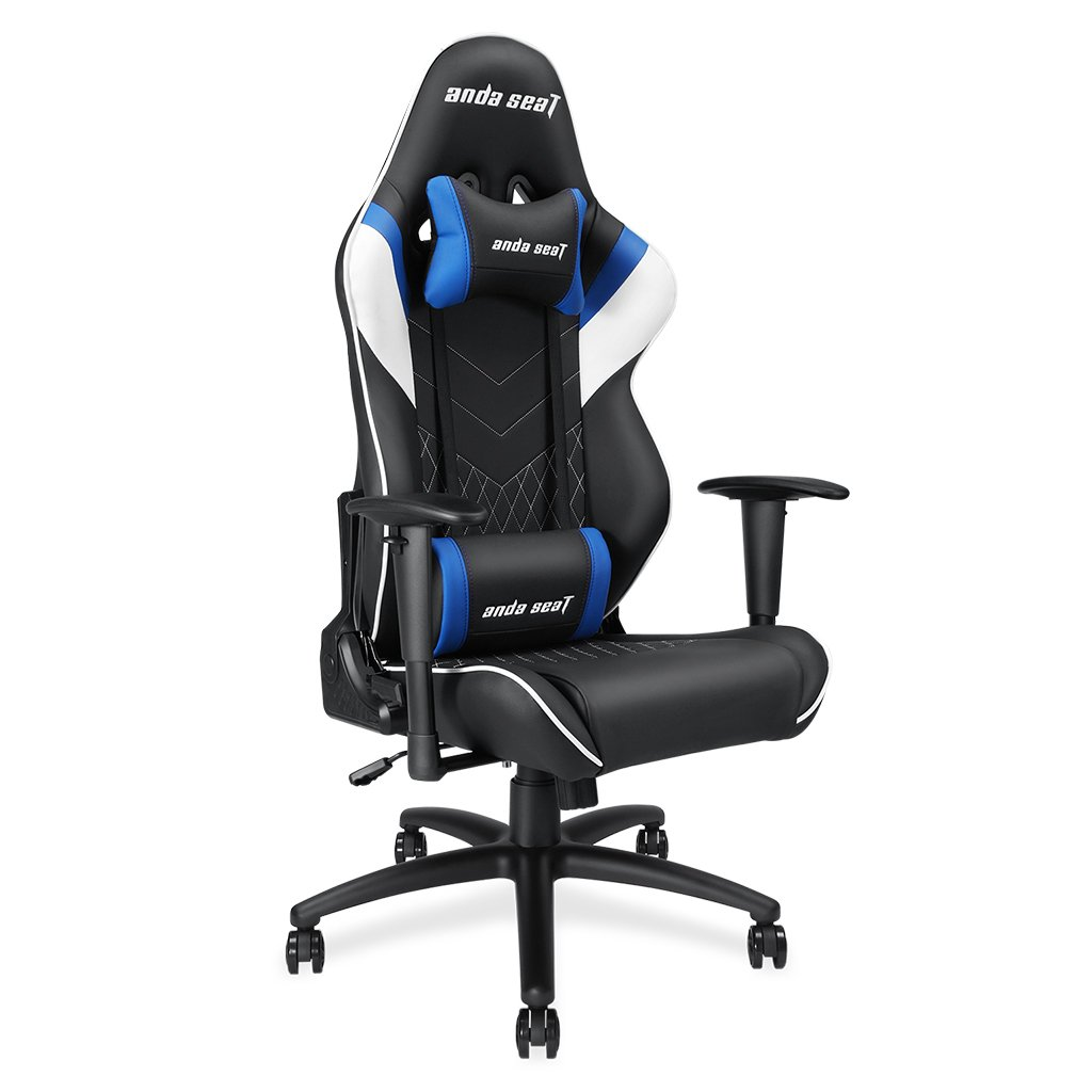 Andaseat Gaming Racer Chair Ergonomic High-back Recliner Office Desk Chair Swivel Rocker Tilt E-sports Chair PC Gaming Chair with Adjustable Armrests with Lumbar Support and Headrest(Black/White/Blue)
