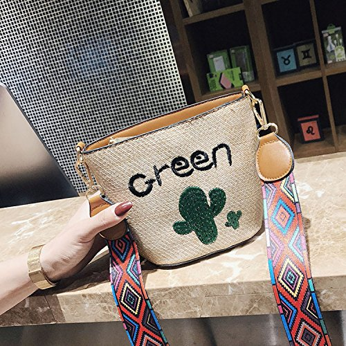 Summer female strap ethnic White style woven 2018 fashion bag shoulder Leaves pZxqBdqU