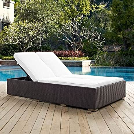 Modway Convene Patio Double Chaise Lounge In Espresso And White