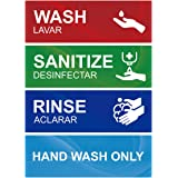 Wash Rinse Sanitize Sink Labels, Hand Wash Only Sign, 4 Pack 3 Compartment Sink Waterproof Sticker Signs for Wash…