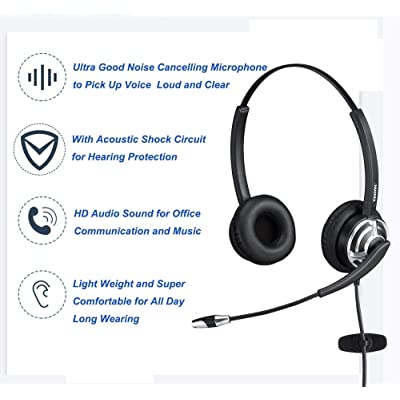 Phone Tablet Zoom Call Center Meetings USB Headset with Noise Cancelling Microphone 3.5mm Jack Computer Headset with in-Line Call Control Comfort-fit 300 Degree Boom Mic Headphone for Skype PC