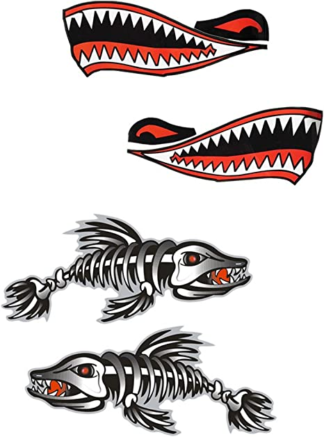 4 Pieces Shark Teeth Mouth Skeleton Fish Decal Stickers for Kayak Canoe