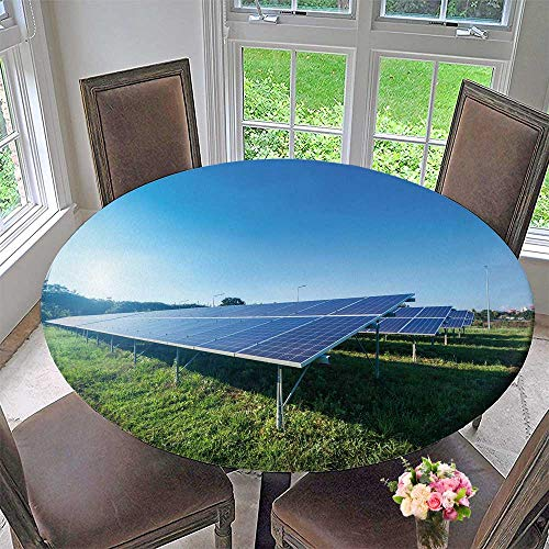 PINAFORE HOME Round Table Tablecloth Solar Panel on Blue Sky Background for Wedding Restaurant Party 67''-71'' Round (Elastic Edge) by PINAFORE HOME