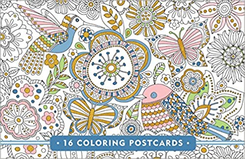 Blooms Birds Butterflies Coloring Postcards Gold Foil On Every Card Peter Pauper Press 9781441321282 Amazon Books