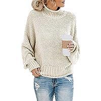 Socluer Sudaderas para Mujer con Cuello Alto y Manga Larga Suéter Señoras Suéter de Punto Cuello Alto Ocio Suéter…