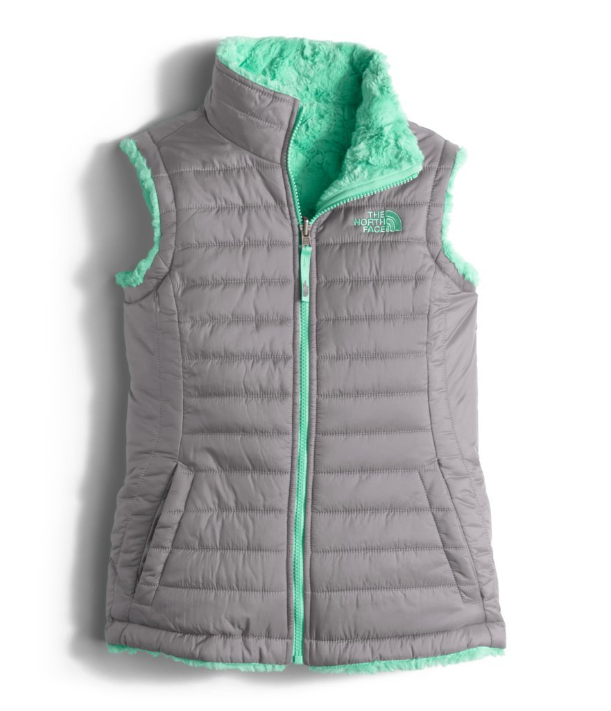The North Face Girl's Reversible Mossbud Swirl Vest - Metallic Silver & Bermuda Green - XL (Past Season)