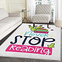 Book Anti-Skid Area Rug Vivid Color Cactus and Stars Behind Books with Inspirational Print Never Stop Reading Door Mat Increase 5x6 Multicolor