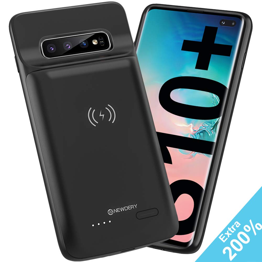 NEWDERY Upgraded Galaxy S10 Plus Battery Case Qi Wireless Charging Compatible, 10000mAh Rechargeable Extended Charger Case Compatible Samsung Galaxy S10+ Plus (Black) by NEWDERY