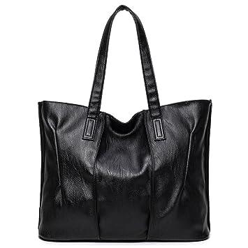 Grande Bolso Bolso mujer mujer mujer bolsos de cuero Bolsos grandes Bolsos con bandoleras Casual Bolso negro de 39cm.: Amazon.es: Equipaje