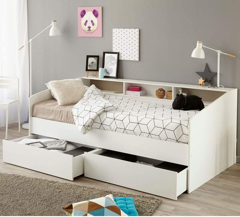- Happy Beds Sleep White Wooden Day Bed With Flex 1000 Orthopaedic