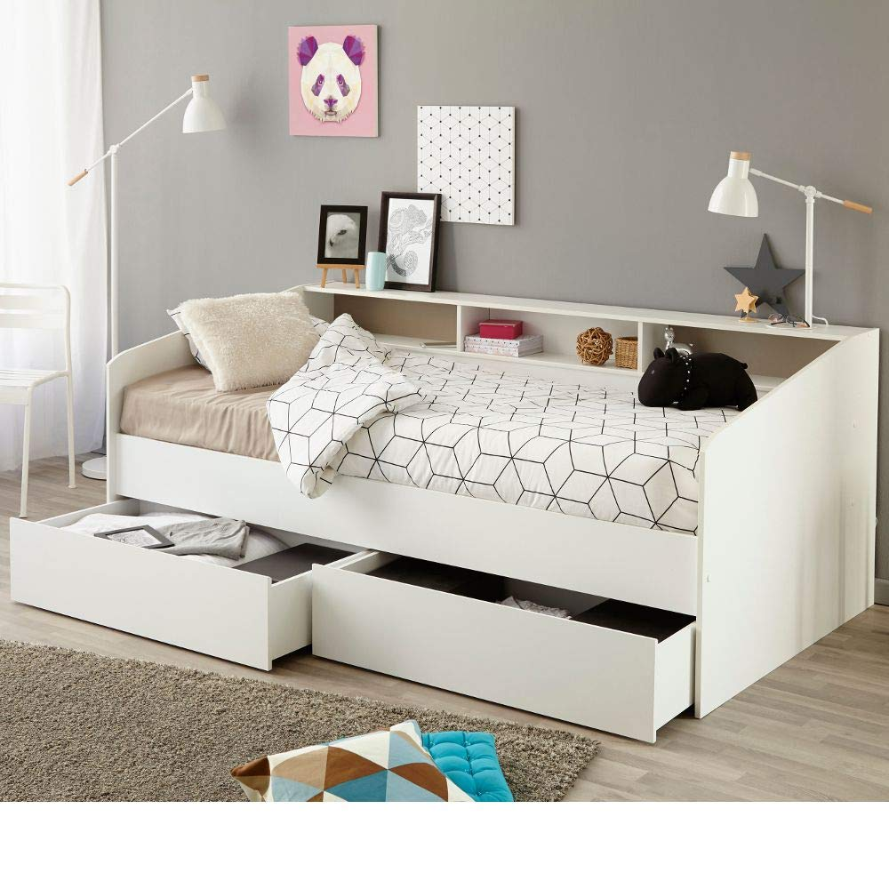 Storage Day Bed, Happy Beds Sleep White Wood Scandinavian Shelves Drawers Storage Daybed - Euro Single (90 x 200 cm) Frame Only