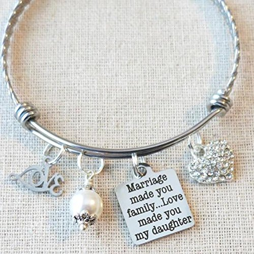 Stepdaughter Gift, Daughter-in-Law Gifts, Marriage Made You Family...Love Made You My Daughter Bangle Bracelet, Gift from Stepmom Stepdad