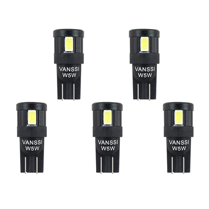 10 opinioni per VANSSI 5 Pezzi W5W LED lampadine bianche 12-24V 6-SMD T10 168 2825 501 Lampadina