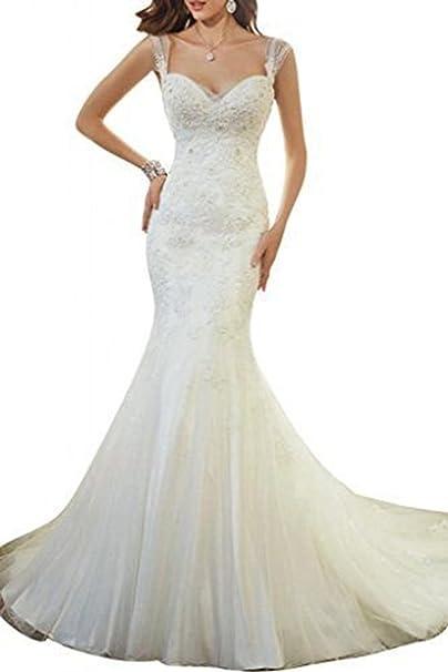 Beautyprom - Vestido de boda para mujer, estilo sirena blanco blanco 44