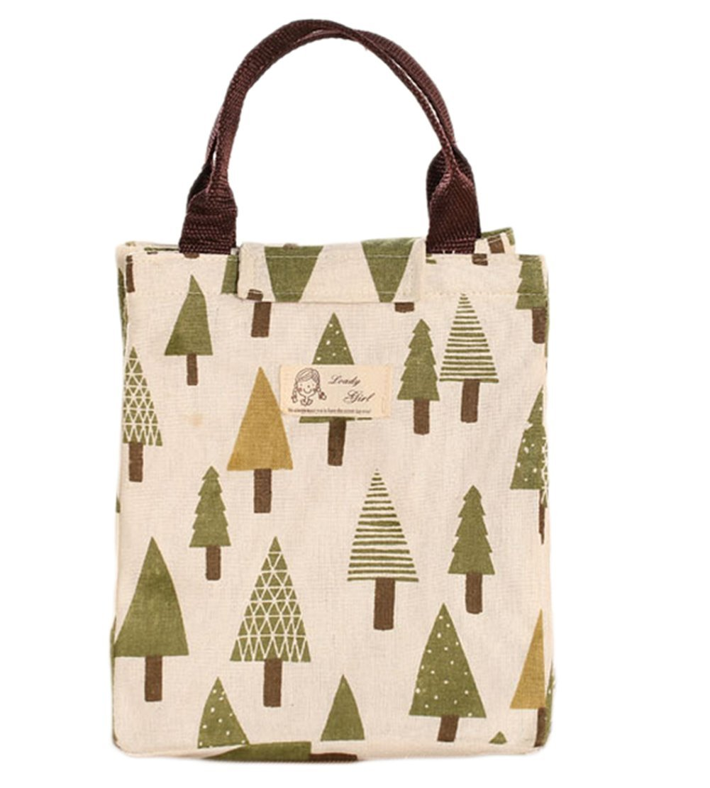 Outflower Animal Canvas Lunch Bag Foldable Travel Picnic Cooler Bag Food Container(Triangle Tree)