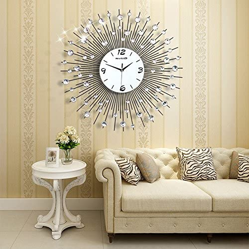 NEOTEND Large Decorative Wall Clock Non Ticking Modern Wall Clock
