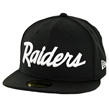 4e6a305f8d6 Image Unavailable. Image not available for. Color  New Era 59Fifty Oakland  Raiders quot BK WH Script quot  Fitted Hat ...