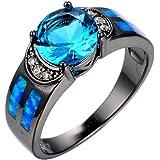 GDSTAR Amethyst Jewelry Ocean Blue Fire Opal Stonet Ring Purple CZ Black Gold Filled WeddingRings