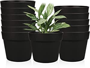 6.3 Inches Plastic Plant Pots, Gardening Containers, Planters, Perfect for Indoor and Outdoor Decoration/Garden/Kitchen/Flower/Succulents, Set of 12(Black)