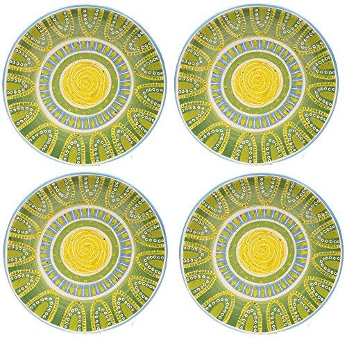 Certified International Tapas 4pc Green Design Ceramic Dinner Plate Bundle Set