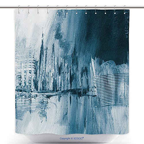 vanfan-Polyester Shower Curtains Blue Abstract Hand Painted Background Wallpaper Texture Close up Fragment Acrylic Painting On Polyester Bathroom Shower Curtain Set Hooks(72 x 96 inches) ()