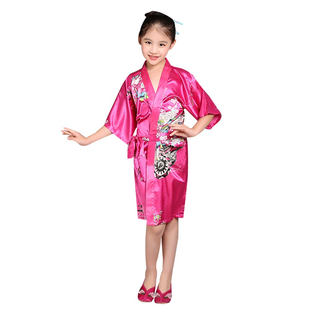 Goodkids Girl' Satin Kimono Short Sleeve Bathrobe Silk Middle Sleeve Flower Loose Nightwear for Spa Wedding Party Birthday (130cm, Rose)